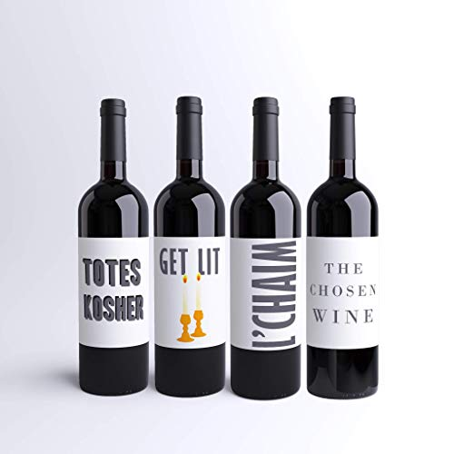 Funny Shabbat Wine Labels Jewish Wine Bottle Labels For Shabbos Get Lit L'Chaim Totes Kosher The Chosen Wine Labels (Pack of 4+) Jewish Dinner Party Judaica Custom Printed Wine Labels | Made in USA