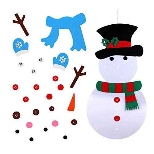 KOBWA 20 X 40 Inch DIY Felt Christmas Snowman Set with 31pcs Detachable Ornaments, 3D Hanging Xmas Wall Decor Home Door Decoration, Educational Xmas Gifts for Kids Toddlers Christmas Decorations (Educational Felt)