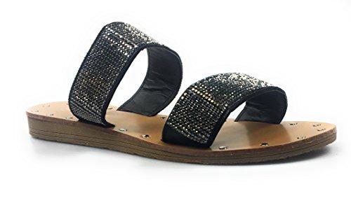 Per Sempre Donna Open Toe Strass Impreziositi Sandalo Piatto Sandalo Infradito Pantofola Nero Hennie-29