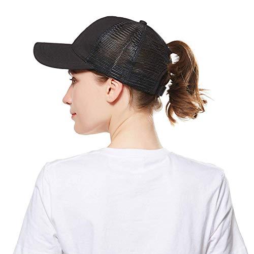 Visor Mesh Sun (Women Ponytail Baseball Cap Hat,High Messy Bun Ponytail Hole Baseball Sun Visor Trucker Hat Black)