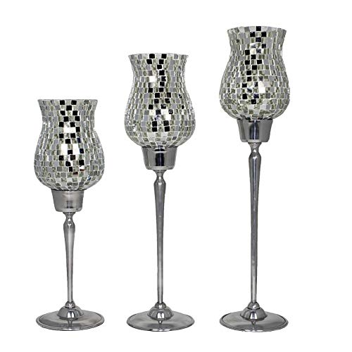 Benzara BM14161 Exotic Clear Mosaic Candle Holders (Set of 3) Silver