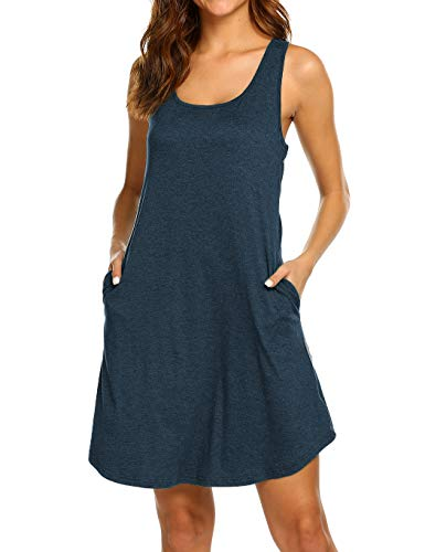 (Casual Dresses for Women Summer Shirt Dresses Racerback Sundress with Pockets Short Navy Blue S)