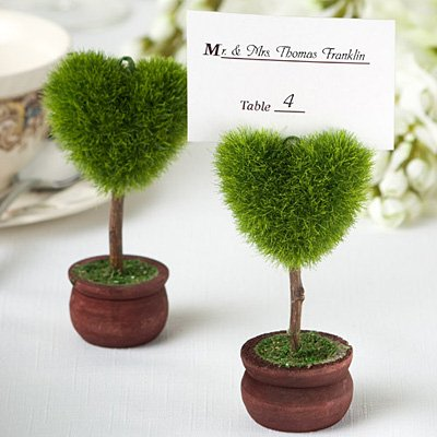 Unique Heart Design Topiary Place Card Holder, (Topiary Card)