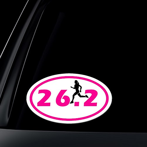 Marathon Oval 26.2 Runner (26.2 Marathon GIRL Runner Euro Oval Car Decal / Sticker)