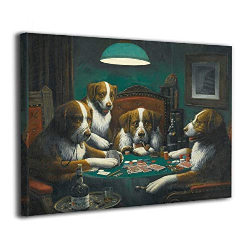 Canvas Artwork Paintings, Dogs Playing Cards Wall Art Prints Picture Contemporary Home Decor 16