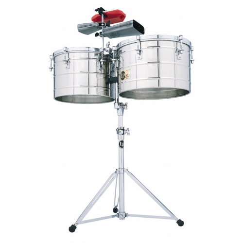 Latin Percussion LP258SLP Tito Puente Thunder Timbales, Steel with Stand (Thunder Timbales)