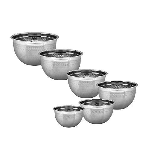 18 Cm Bowl (Kosma Set of 6 Stainless Steel Deep Mixing Bowl   Salad Bowl (Hammered Finish) - 14cm, 18cm, 22cm, 24cm, 26cm, 30cm (0.75 Litre, 1.5 Litres, 3 Litres, 4 Litres, 5 Litres, 8 Litres))