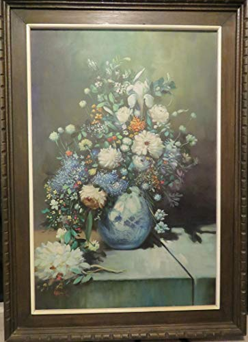 (Beautiful Oil Painting by Artist V.G. Ramos of Flowers in Vase. The Art canvas itself measures 36 in x 24 in. With frame, 44 in x 31 in. VG Ramos has painted many Indian Paintings. This is the first I have seen a different topic. <b>Artist V.G. Ramos Oil Painting</b> Flowers in Vase, Canvas 36 in x 24 in, Frame, 44 in x 31 in. 1973)