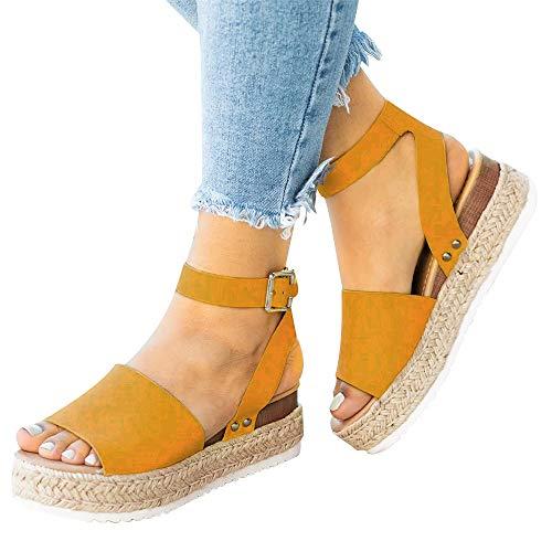 DEARWEN Women's Open Toe Espadrilles Sandals Ankle Strap Platform Wedge Studded Boho Cute Shoes Yellow US 9