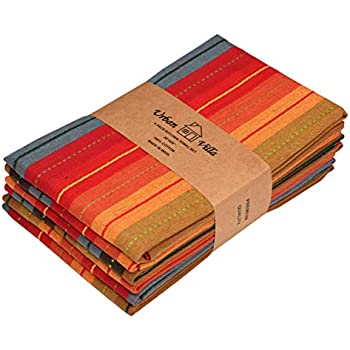 Urban Villa Kitchen Towels, Cuisine stripes,Premium Quality,100% Cotton Dish Towels,Mitered Corners,Ultra Soft (Size: 20X30 Inch), Red Multi, Highly Absorbent Bar Towels & Tea Towels - (Set of 6)