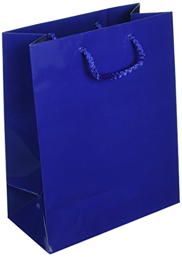 100 Navy Blue Gloss Laminated Heavy Paper Tote Bag with Soft