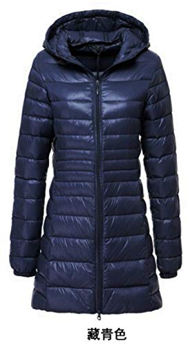 World-Palm 6XL 7XL Plus Long Down Jacket Women Winter Ultra Light A Hood Coat Navy,L,