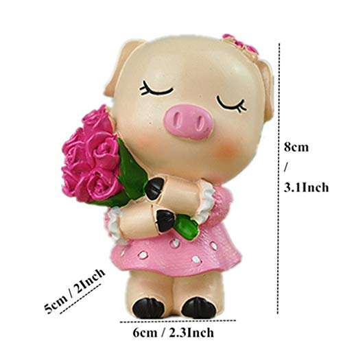 3.1'' Resin Lovely Pig Figurine Creative Crafts Pig Lover Miniatures Animal Cartoon Statue For Home Decor Wedding Decor Pink Pig 2.3x2x3.1 Inch]()