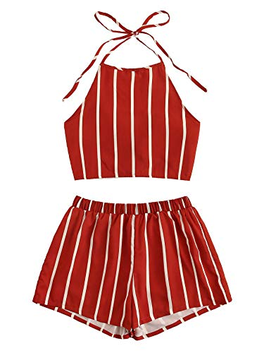 (SweatyRocks Women's Striped 2 Piece Outfits Halter Crop Cami Top and Shorts Set Burgundy M)