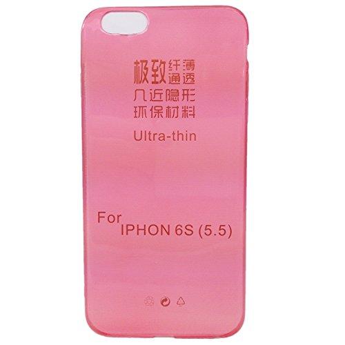handy-point Ultra Dünn 0,3 mm Gummihülle Gummi Silikonhülle Silikon Schutzhülle Hülle für iPhone 6 Plus 6S Plus (5.5 Zoll) Durchsichtig Transparent Rot
