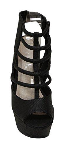 Per Sempre Edith-5 Womens Peep Toe Platform Zeppa Gladiator Chiusura Con Cerniera Serpente In Pelle Di Serpente Nero Sandali