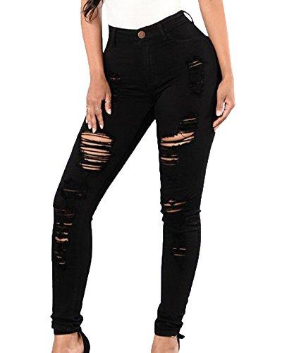 Lápiz Vaqueros Skinny Jeans Pantalones Denim Mujeres Skinny Negro Para AafxZpqpn