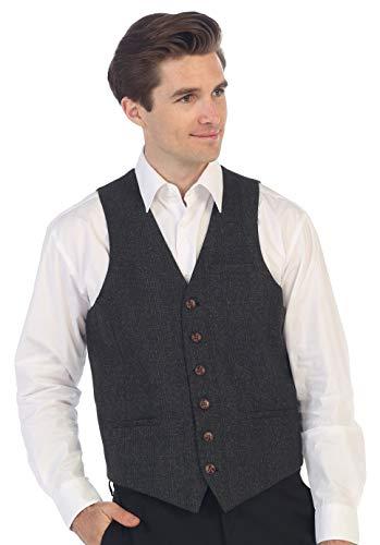 Gioberti Men's 6 Button Slim Fit Formal Herringbone Tweed Vest, Checkered Charcoal, Medium