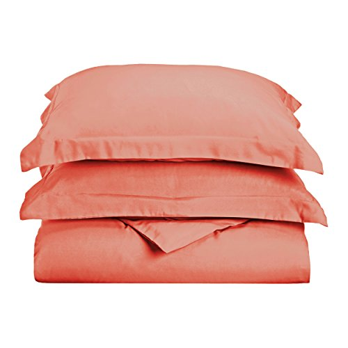 Superior 1500 Series Premium Quality 100% Brushed Soft Microfiber Duvet Cover Set with Pillow Sham, Silky Soft and Luxurious Bedding, Wrinkle and Stain Resistant - Twin/Twin XL, Coral