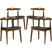 Modway Tracy Dining Chairs Set of 4 in Black