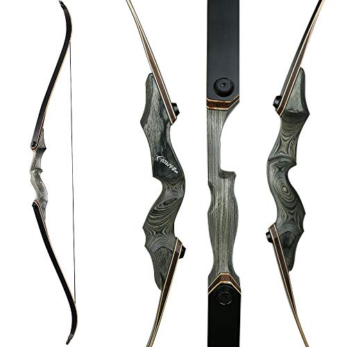 TOPARCHERY Archery Takedown Recurve Bow 60inch Right Handed Riser Bow for Hunting Target Shooting 30-50Lbs Hunting Target Practice Adults with Bow Stringer (LY50LBS)