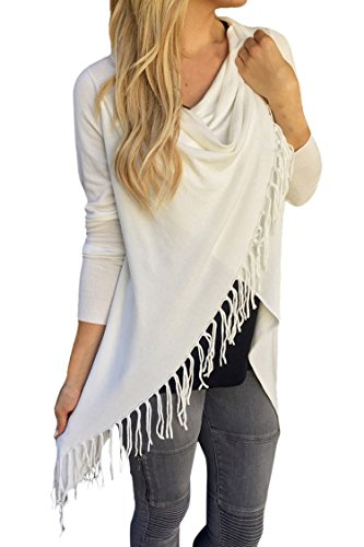 (Pink Queen Women's Tassel Open Front Knit Cardigan Sweater Outerwear White L)