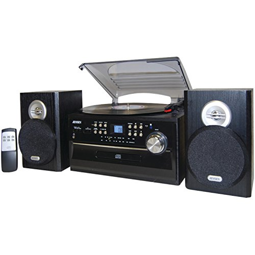 Jensen JTA475B 3-Speed Turntable with CD, AM/FM Stereo Radio, Cassette and Remote (Record Cd Cassette Radio Player)