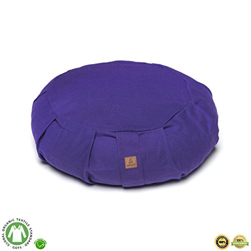 Buckwheat Zafu Therapeutic Meditation Cushion | Yoga Pillow | Round Ergonomic Design Relieves Stress On Back, Hips, Legs For Complete Comfort | Washable Premium Organic Cotton Removable Cover - Purple