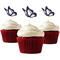 Butterfly Cupcake Topper 12 pieces per Pack Cupcake Topper Decoration Card Stock Lilac