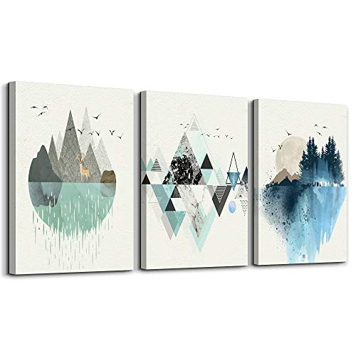 Affordable Artwork Decor - Abstract Mountain in Daytime Canvas Prints Wall Art Paintings Abstract Geometry Wall Artworks Pictures for Living Room Bedroom Decoration, 12x16 inch/piece, 3 Panels Home bathroom Wall decor posters