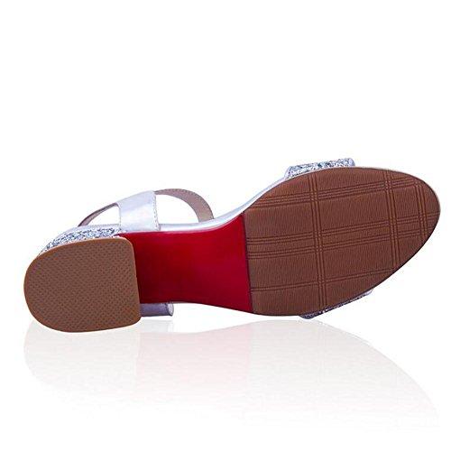 Euroaméricains cuir des femmes Le Casual Belt Pump Buckle Silvery Dress Sandals Sequin , silver , 43