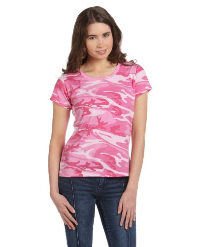 Code V 3665 Code V Ladies' Fine Cotton Jersey Camouflage T-Shirt Pink Woodland - Jersey Woodland Ribbed