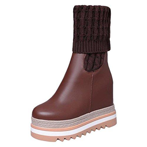Slipper Binying Braun Flatform Damen Stiefel Knit Chelsea High nx8qI4
