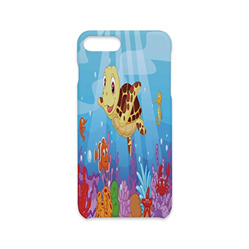 iPhone 7/8 Plus Case Fashion Stylish Print,Turtle,Funny Adorable Cartoon Style Underwater Sea Animals Baby Turtle and Fish Collection,Multicolor,Antiskid Proof Shell ()