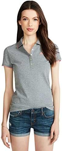 Aeropostale Women's A87 Solid Tipped-Collar Piqu Polo Shirt