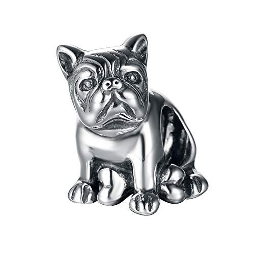 Bulldog Charm–Perle en forme de chiot Charm–Argent Sterling 925Chien Charm pour s'adapter au Trollbeads Bracelet Globalwin Jewellry T130