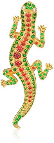 18k Gold Over Fine Silver Plated Bronze Garnet Cubic Zirconia and Emerald Green Glass Lizard Brooch Pin