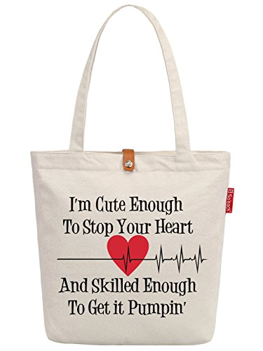 So'each Women's I'm Cute Love Letters Top Handle Canvas Tote Shoulder Bag
