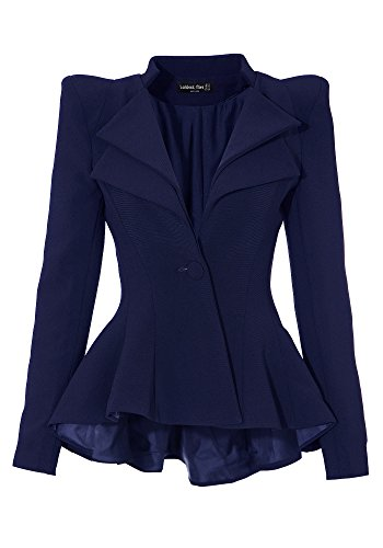 Lookbook Store Women Double Notch Lapel Sharp Shoulder Pad Asymmetry Blazer, Blue US 20