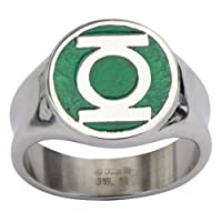 Men's Stainless Steel DC Comics Green Lantern Ring with a Classic Green Enamel Inlay