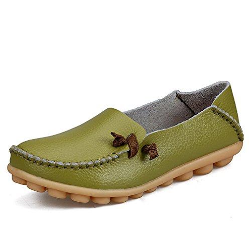 conducción de Zapato de Mujer de Mocasines de sólido genuino Zapatos la de cuero Calzado ocasionales Pisos mujeres mujer Verde barco de Bridfa madre FZwqtp