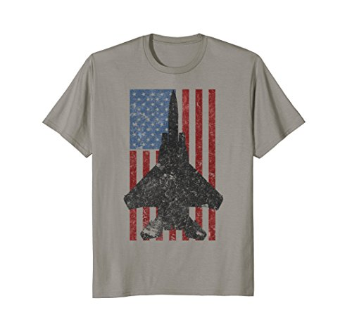 (F-15 Eagle Jet Fighter Vintage Color American Flag T-Shirt)