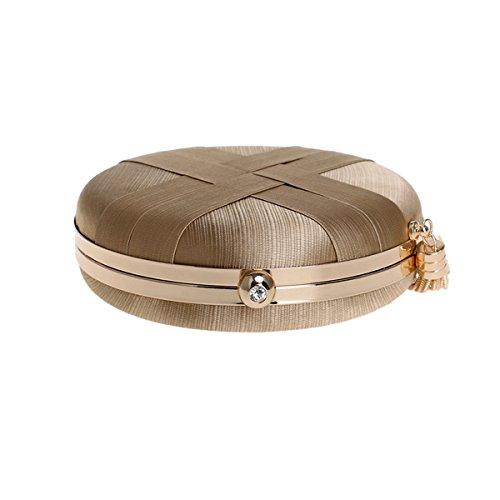 and with Round Evening Satin Handbags Women bags Tassel Wedding Gold Pendant Flada Clutches Ladies 5Snpwg