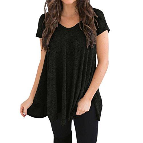 Manches Irrgulire T Saihui Tunique Haute Grande Taille Noir Basse Femmes Courtes Ample Shirt T Shirt Ample IpprxPCwq