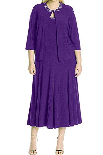 Braut Dunkel La Braun mia Damen Lila Chiffon Partykleider Langarm Abendkleider Brautmutterkleider Kurzes qA5w5HOxt1