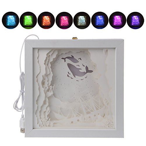 CUTEQ Night Light Papercut Light Boxes LED Wall Lights USB Desk Lamps Creative Paintings for Christmas Halloween Decor Kids Gifts (Flying (Paper Source Halloween Cards)