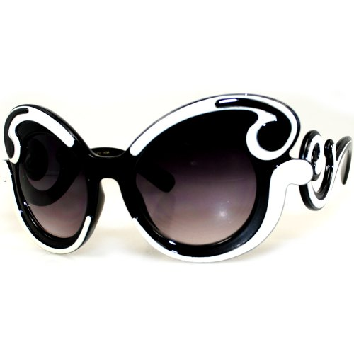 fec12217916 EF Oversized High Fashion Two Tone Sunglasses w  Baroque Swirl Arms