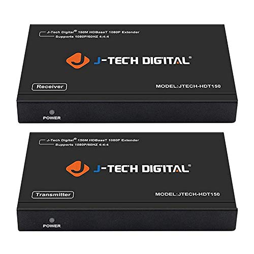 (J-Tech Digital Long Range HDMI Extender Over Cat6 150m/492ft HDBaseT 1080P Extender PoC, Bi-Directional IR, Supports Dolby Digital, DTS, with EDID, CEC, RS-232 Passthrough (JTECH-HDT150))