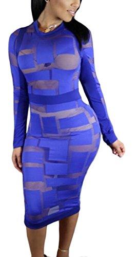 Coolred-femmes Robe Crayon De Couture De Fil Net Robes À Manches Longues Bleu