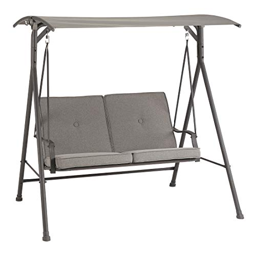 Iron Porch Swing with Steel Frame Stand and Canopy Outdoor Two-Seat Grey Cushioned Glider Sofa Hammock Loveseat Bench for Patio, Poolside, Garden, Balcony, e-Book by jn.widetrade